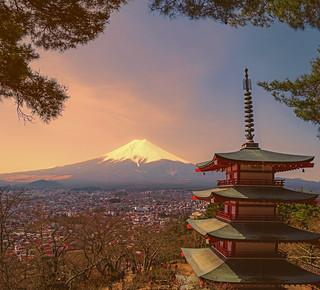 Mt Fuji from Chureito Pagoda - Fujiyoshida, Japan