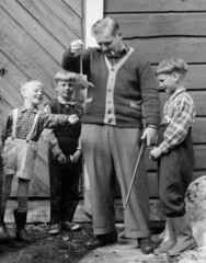 How to catch your rat (theirhistory) Tags: children kid boy man animal gun trousers shirt wellies shoes rubberboots