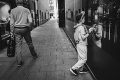 """""""well hello, who are you...?"""" (Zesk MF) Tags: bw black white kid mirror self fenster scheibe spiegelung reflection street candid zesk people city"""