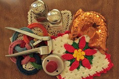 Flickr Friday - Old Fashioned (qorp38) Tags: pot holder garlic press salt pepper shakers doughnut cutter doily