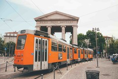 orange tram. (Nicole Favero 游婉情) Tags: verde milan love amazing mine cute cool street photography architecture people famous place capital italy forever follow me nicolefavero nicky nikon nikond5000 camera reflex galleria vittorioemanuele duomo milano open air streetphotography applestore famousplace orange tram atm transport city