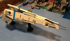 LEGO - SHIPtember 2018 - WIP - I think I've finally settled on a sturdy enough way of mounting the side engines. It helps if I mount them at the same time to help avoid tipping over to one side (k9iug) Tags: legospace legoshiptember shiptember2018 shiptember
