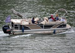 "A Godfrey Aqua Patio pontoon boat named ""Mojito"", operated by Green River Paris Cruises, river Seine, downtown Paris, 2018-07-11. (alaindurandpatrick) Tags: aquapatio godfrey godfreyaquapatio pontoonboats mojito sightseeingboats riverboats greenriverpariscruises cruiselines rivercruiselines seine riverseine rivers waterways paris iledefrance greaterparisarea france"