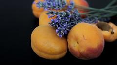 The fruits of summer (Luc1659) Tags: macro lavanda albicocche orange viola details apricot lavender