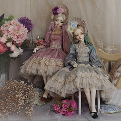 Heather Princess and Mint Hime (AyuAna) Tags: bjd ball jointed doll dollfie ayuana design minidesign abjd handmade ooak clothing clothes dress set gown robe vetement lolita fashion couture style sd sd13 sd10 size littlemonica little monica