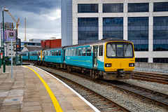 143614 + 143083 - Cardiff Central - 09/08/18. (TRphotography04) Tags: arriva trains wales 143614 143083 departs cardiff central with 2t24 1235 treherbert 142083