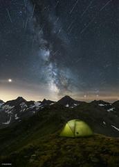 Perseiden Meteorstorm (davidbotta) Tags: night nightscape stars milky way galaxy landscape light tent camping mars green blue red infinity clouds sky swiss switzerland mountains alps meteor meteorstorm perseiden