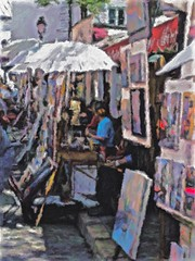 Montmartre Market (Professor Bop) Tags: professorbop drjazz olympusem1 street parisfrance montmartre art market people impressionism mosca artists