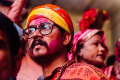 Man in Glasses in Shri Banke Bihari Mandir for Holi (AdamCohn) Tags: abeer adamcohn bankebiharimandir hindu india shribankeybiharimandir vrindavan gulal holi pilgrim pilgrimage portrait अबीर गुलाल होली