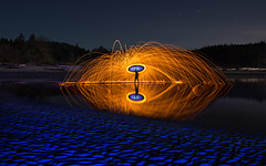 Witty's Lagoon Firespin (vanessa_macdonald) Tags: steelwool steelwoolphotography firespinning fire sparks spark pyro pyrotechnical pyrotechnics night nightphotography beach waves tide longexpo long exposure colourful colours lightpainting lpwa lightart