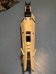 LEGO - SHIPtember 2018 - WIP maybe this year I'll actually finish a ship???!! Sorry for the bad lighting, makes the white look yellowed. I'll try to get some outdoor pics later today. (k9iug) Tags: legospace shiptember2018 shiptember