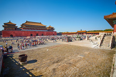 2018 Beijing - Gu Gong 15 (C & R Driver-Burgess) Tags: gugong forbiddencity beijing ancient palace buildings decorated painted elaborate chinese crowds tourists gold gate entrance exit courtyard plaza open space area square wideangle lens sigmaex1735mmdf284dg