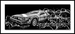 Great Scott (Suggsy69) Tags: nikon d5200 delorean backtothefuture art digitalart greatscott text lettering lightning car automobile vehicle timetravel blackwhite bw blackandwhite mono monochrome frame framed