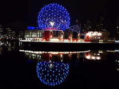 Reflections in blue (walneylad) Tags: vancouver britishcolumbia canada yaletown falsecreek night evening dark lights water blue reflections telusworldofscience scienceworld sciencecentre expocentre geodesic dome building condos towers september summer overcast cloudy view scenery cityscape skyline colour