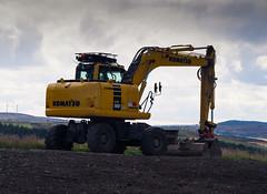 Rubber Duck. (HivizPhotography) Tags: komatsu pw160 cloud awpr aberdeen aberdeenshire scotland uk excavator rubber duck wheeled yellow construction infrastructure