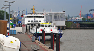 Emden outer harbour with Borkum ferry and catamaran ...