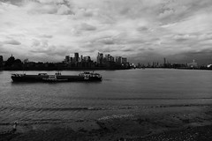 Canary Wharf, Barge and Thames from Greenwich - Monochrome (John of Witney) Tags: canarywharf boat barge thames monochrome blackandwhite greenwich london