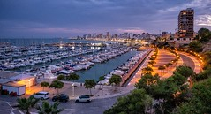 El Campello, Spain (Vest der ute) Tags: xt20 sea seaside evening softlight water boats buildings quay harbour fav25