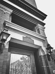 Butlers Lace (Ellery Images) Tags: lights sign plate door edifice elleryimages monochrome blackandwhite lace butler brick building