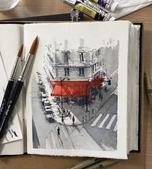 Paris café (alexhillkurtzart) Tags: fountainpen watercolor paris urbansketch usk