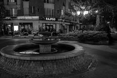 the fated fountain Saint Maur des Fossés (laurent.triboulois) Tags: fountain blackandwhite street rue fontaine paris restaurant