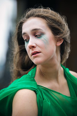 Portrait from the 2018 Edinburgh Festival Fringe - The Bacchanals (Gordon.A) Tags: scotland edinburgh fringe edinburghfestival edinburghfestivalfringe edfringe edfest august 2018 embra auldreekie dùnèideann festival festiwal festivaali festivalen wyl féile festspiele theatre actor actress artist arts artsfestival performingartsfestival performer performers bacchanals euripides bacchae mikra theatricals greek mythology comedy pretty woman lady face people green costume creative culture urban city outdoor outdoors outside pose posed colour color colourful portrait digital canon eos 750d sigma sigma50100mmf18dc