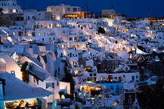 Night atmosphere (Christian Wilt) Tags: santorini greece cyclades night nightshot gr village mountain volcano island summer aegeansea