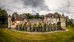 """fine art colour panorama of Château de Boutemont, viewed from the closest edge of the ornamental pond and gardens, Ouilly-le-Vicomte, Calvados, Normandy, France (grumpybaldprof) Tags: """"fineart"""" ethereal striking artistic interpretation impressionist stylistic style contrast shadow bright dark black white illuminated colour colours panorama """"châteaudeboutemont"""" ouillylevicomte calvados normandy france gardens castle chateau charming impressive picturesque beautiful """"10thcentury"""" """"boutemonthughesin1180"""" """"boutemontguillaume1195"""" ancient medieval resistance """"touquesvalley"""" jardinremarquable park """"motteandbailey"""" """"monumenthistorique"""" renaissance peaceful mood atmospheric calm wood brick stone slate tiles halftimbered canon 70d """"canon70d"""" sigma 1020 1020mm f456 """"sigma1020mmf456dchsm"""" """"wideangle"""" ultrawide pretty"""