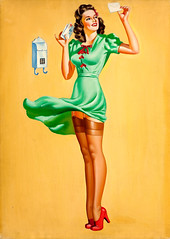 Pin-Up at the Mailbox, uncredited artist (gameraboy) Tags: painting art illustration vintage pinupatthemailbox pinup pinupart stockings thighhighs garterbelt heels lingerie dress
