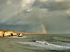 Freshwater Bay (Conundrum37) Tags: freshwater bay isleofwight rainbow storm sea rocks
