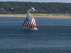 Martha's Vinyard (Neubie) Tags: americanflag flag sail sailboat marthasvineyard edgardtown chappaquiddick massachusetts sailing catboat