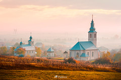 catholic and orthodox churches at foggy sunrise-151809 (M. Pellinni) Tags: countryside landscape religion village foggy travel background nature outdoor catholic orthodox churches sunrise lovely scenery autumn creative toning hill church rural grassy slope hillside house beautiful building construction suburb provincial edge viewpoint exquisite architecture misty dreamy fog