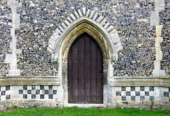 The west doorway (late 14th C.), the Church of St George, Stowlangtoft, Suffolk, England (Spencer Means) Tags: architecture church medieval gothic door doorway west flint flintstone flushwork george stowlangtoft suffolk eastanglia england uk gb listed building grade1