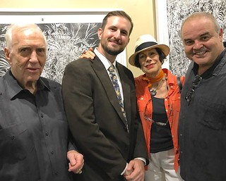Monty Trainer with artists Michael Gray, Erika King and Xavier Cortada at Michael's opening at the Coconut Grove Festival gallery