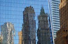 Reflections at One World Trade Center, NYC (SomePhotosTakenByMe) Tags: reflection spiegelung woolworth woolworthbuilding 8sprucestreet newyorkbygehry beekmantower barclaytower facade fassade wtc 1wtc oneworldtradecenter worldtradecenter skyscraper wolkenkratzer gebäude building outdoor urlaub vacation holiday usa america amerika unitedstates nyc newyork newyorkstate newyorkcity stadt city innenstadt downtown architektur architecture finanzbezirk financialdistrict lowermanhattan manhattan