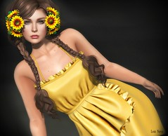 Lori Novo (Lori Novo) Tags: lorinovo secondlife avatar virtual blogger september girl luas dress yellow sabinagully vanityevent magika ainara braids avange flowers sunflowers