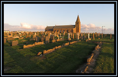 Newbiggin By-The-Sea. Northumberland 2 (M E For Bees (Was Margaret Edge The Bee Girl)) Tags: newbigginbythesea northumberland church christianity building graveyard gravestones town sun sunshine sunset stone architecture buildings canon light evening rows green grass summer blue sky clouds holiday outdoors