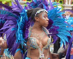 DSC_8399a Notting Hill Caribbean Carnival London Exotic Colourful Blue and Purple Costume with Ostrich Feather Headdress Girls Dancing Showgirl Performers Aug 27 2018 Stunning Ladies Décolleté Low Neckline Beautiful Breasts Cleavage (photographer695) Tags: notting hill caribbean carnival london exotic colourful costume girls dancing showgirl performers aug 27 2018 stunning ladies blue purple with ostrich feather headdress décolleté low neckline beautiful breasts cleavage
