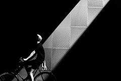 In the line of light (Birdhouse camper) Tags: copenhagen denmark fujifilm fuji x100f light lightstream bicycle blackandwhite blackwhite street contrast