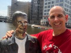 The Bronze Fonz and me in Milwaukee (Hazboy) Tags: hazboy hazboy1 fonz fonzie bronz bronze statue riverwalk milwaukee wisconsin august 2018 selfie