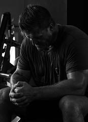 Working Hard. (Johnny H G) Tags: portrait actor skuespiller fitness bodybuilding traning blackandwhite johnnyhg male ff6 monochrome naturallight fujifilm fujifilmxpro1 kimkold fuengirola spain gym