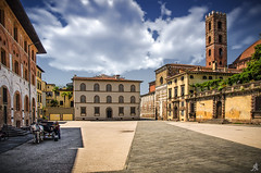 The color of the past (Alessandro Giorgi Art Photography) Tags: color past lucca square italy piazza italia tuscany toscana outdoor citiscape tower building architecture clouds nuvole city città