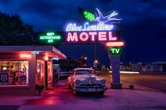 The Blue Swallow Motel (Jim Nix / Nomadic Pursuits) Tags: 24240mm americana blueswallowmotel jimnix luminar luminar2018 macphun motherroad newmexico nomadicpursuits route66 sony sonya7ii tucumcari bluehour landmark neon neonsign travel