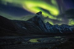 The Power of Thor (Andrew G Robertson) Tags: auyuittuq national park mount thor peak nunavut canada arctic northern lights aurora borealis