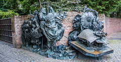 2018 - Germany - Düsseldorf - Stadterhebungsmonument (Ted's photos - For Me & You) Tags: 2018 cropped düsseldorf germany nikon nikond750 nikonfx tedmcgrath tedsphotos vignetting stadterhebungsmonument dusseldorfstadterhebungsmonument stadterhebungsmonumentdusseldorf bertgerresheim bertgerresheimdusseldorf sculpture bronzesculpture wall brickwall bricks monument