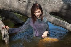 Wet beauty (piotr_szymanek) Tags: minerwa portrait outdoor woman young skinny water river longhair redhead hand wet face tree 1k 20f 50f 5k 100f 10k 20k fromabove 30k