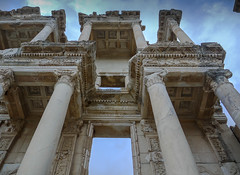 Jaw dropping awesome (Adaptabilly) Tags: asia ephesus corinthian ephesos clouds roman libraryofcelsus lumixg1 perspective ruins greek column text decoration sky ceiling efes travel architecture turkey izmir tr