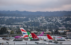 transoceanic tails (pbo31) Tags: bayarea california nikon d810 color september 2018 summer boury pbo31 sanfranciscointernational airport aviation plane airline travel sfo sanmateocounty a380 britishairways qantas eva virginatlantic a340 airbus 777 787 boeing gate terminal tails millbrae wow fog over red