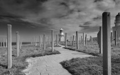F8197086 F8197087 silver E-M5ii 12mm iso200 f5.6 1_2500s (Mel Stephens) Tags: fraserburgh uk scotland aberdeenshire 20180819 201808 2018 q3 16x10 8x5 wide widescreen olympus mzuiko mft microfourthirds m43 714mm pro omd em5ii ii mirrorless bw black white silver efex coast coastal structure lighthouse best gps