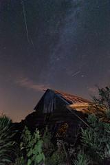 Old Barn with Meteors & Fireflies (scott_bohaty) Tags: longexposure summer milkyway barn stars night meteor fireflies nightscape astronomy nebraska landscape